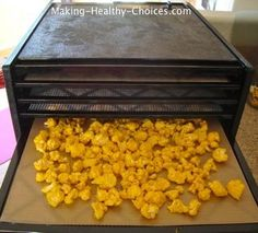 Cauliflower Recipe, in the dehydrator and then they become a delicious crunchy snack.