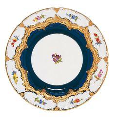 "Dinner plate, Shape ""B-Form"", Strewn flowers, royal blue ground, gold (bronze coloured), light, ø 28 cm"