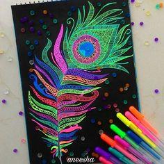 Inktober Day 8  8/31 Using Sakura moonlight gellyrolls #inktober #inktober2016 #inspiroindia_inktober #penandink #inspiroindia #zentangle #mandala #zentanglemandalalove #mandalaplanet #inkfeature #neon #peacock #feather #positivity  #art #artist #beautiful_mandalas #mandala_sharing #artpalooza #artzworld #lovetheart_  #artsfeatures #legendary_art_ #illustratenow #artists_rescue #mandalala #wewholeart #blvart #artistuniversity #featuredmandalas