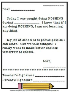 Letter to parents from student - I was caught doing nothing today at school. Teacher Tools, Teacher Hacks, Teacher Resources, Teacher Stuff, Classroom Behavior Management, Behaviour Management, Organization And Management, Classroom Organization, Future Classroom