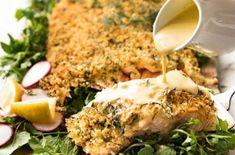 Recette : Saumon au parmesan, sauce au citron. Chicken, Food, Parmesan Salmon, Shrimp, Asian Cuisine, Seafood, Sea Shells, Pisces, Meals