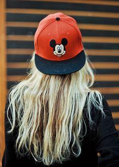 backward Mickey Mouse cap