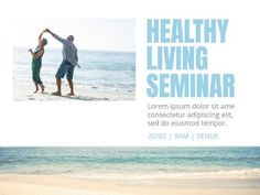 A creative template for a business event. A simple background with an image of a couple at the beach. Light blue text is also included to display information on the seminar.