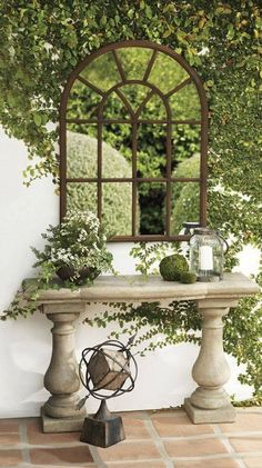 Having a courtyard with a tiny garden? Flesh out the loveliness of your green space with the presence of garden mirrors. Outdoor Rooms, Outdoor Living, Outdoor Decor, Small Gardens, Outdoor Gardens, Modern Gardens, Garden Mirrors, Outdoor Mirrors Garden, Garden Inspiration