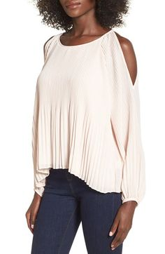 ASTR Pleated Cold Shoulder Top at Nordstrom.com. Crisp accordion pleats add luxurious texture to a lightweight long-sleeve top cut with a gracefully scooped neckline and alluring cold-shoulder design.