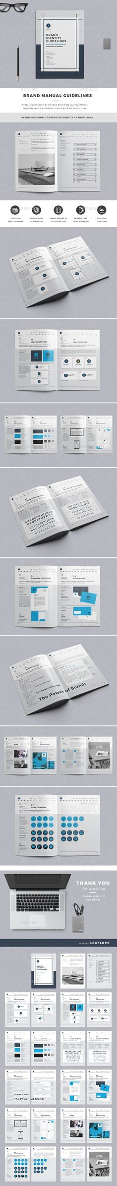 Brand Manual Template InDesign INDD #design Download