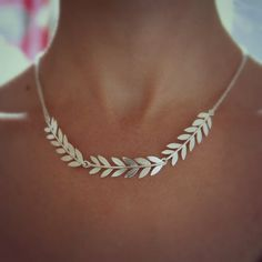 Silver Collar Necklace Olive Branch Jewellery by RockRoseJewellery