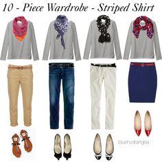 """10 - Piece Wardrobe - Striped Shirt"" by bluehydrangea on Polyvore ((khaki pants))"