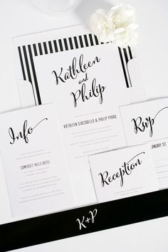 Modern, romantic and classic black and white striped calligraphy, script wedding invitations with a DIY striped envelope liner!   Shine Wedding Invitations