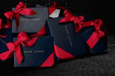 Visit Ralph Lauren stores this holiday season and receive complimentary gift packaging in our signature navy box with a red ribbon Gift Packaging, Packaging Design, Ralph Lauren Gifts, Red Christmas, Christmas Gifts, Christmas Time, Elegant Gift Wrapping, Christmas Gift Wrapping, Red Ribbon