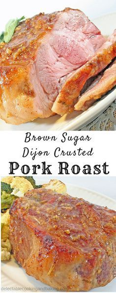 I love easy dinners, and this Brown Sugar Dijon Crusted Pork Roast definitely qualifies as easy…it's not only easy, but the resting period after roasting it allows for plenty of time to finish off your veggies or other side dishes. Plus, it's a crowd-plea Roast Recipes, Crockpot Recipes, Dinner Recipes, Cooking Recipes, Healthy Recipes, Pork Dishes, Side Dishes, Main Dishes, Pork Roast