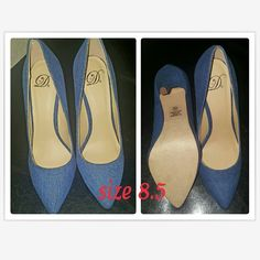 WOMENS DENIM HEELS NEW NEVER WORN NO BOX NO TRADES COLOR : BLUE DENIM Shoes Heels