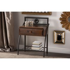 The perfect addition to your bedroom setting, this Jevenci Vintage Metal and Wood Nightstand with drawer and shelf is classically crafted for functionality.
