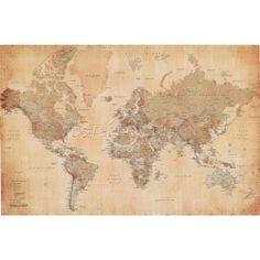 Buyartforless Framed World Map (Vintage Style) Art Print Poster Wall Decor Vintage World Map Poster, Framed World Map, Antique World Map, Old World Maps, Framed Maps, Vintage Posters, Vintage World Maps, Antique Art, Framed Prints