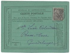 Senegal - GOREE pour la GUADELOUPE: 1895 CG 10c obl. SENEGAL GOREE sur CARTE pour BASSE-TERRE. TB  Dealer Lugdunum  Auction Starting Price: 250.00 EUR