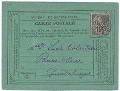 Senegal - GOREE pour la GUADELOUPE: 1895 CG 10c obl. SENEGAL GOREE sur CARTE pour BASSE-TERRE. TB  Dealer Lugdunum  Auction Starting Price: 250.00 EUR