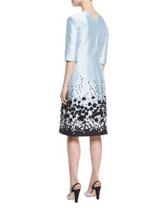 Floral-Embroidered Mikado Cocktail Dress