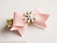 Baby/Girls Pink and Gold Holiday Hair Clip by CharlieCocos, $4.95