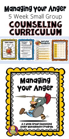 This is a 5 week individual or small group curriculum for anger management.everything you need to get your program off the ground and running! Informations About Managing Your Anger Group Counseli Counseling Activities, Group Counseling, Therapy Activities, School Counseling, Group Activities, Play Therapy, Therapy Games, Family Therapy, Therapy Ideas