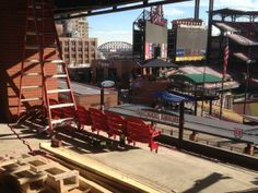 The first Cardinals Nation rooftop seats are going in at Ballpark Village :)