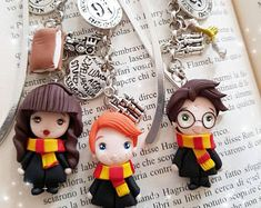 harry potter bookmark book chains charms snape,hermione,ron weasly dobby the elf fimo polimery clay