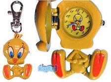 "Looney Tunes Yellow Tweety Bird 3"" Keychain Clock Watch"