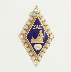 SIGMA ALPHA EPSILON FRATERNITY BADGE - 14K YELLOW GOLD GENUINE OPAL DIAMOND PIN