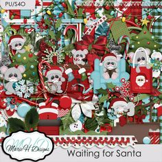 Waiting for Santa Kit contains 28 papers, 75 elements and 1 alpha. All the papers are created at 3600 x 3600 @ 300 dpp saved in jpeg. All the elements are @ 300 dpp saved in png. It contains 8 solid papers 20 patterned papers 3 Christmas balls, 2 bows, 1 branch, 6 buttons,