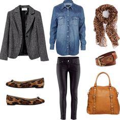 Combinar zapatos estampado leopardo. Con camisa vaquera, pantalón polipiel, blazer gris y pañuelo estampado. Un look de diario genial!!! Buenas noches!!! - @vistetedesonrisas- #webstagram