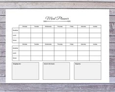 PrintablesBySalma on Etsy Easy Meal Planning Sunday Breakfast, Breakfast Lunch Dinner, Easy Meal Plans, Life Organization, Meal Planner, First Names, Helping People, I Shop, Finding Yourself