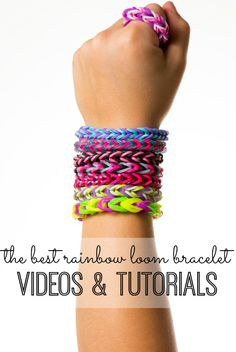 DIY Crafts Idea for Summer Party Gifts - Do your kids (and you) need help learning how to use your rainbow loom? We've found the best rainbow loom bracelet patterns and tutorials - with video instructions - and put the project in one place! Loom Band Bracelets, Loom Bracelet Patterns, Rubber Band Bracelet, Rainbow Loom Patterns, Rainbow Loom Bands, Rainbow Loom Bracelets, Loom Love, Fun Loom, Crafts To Do