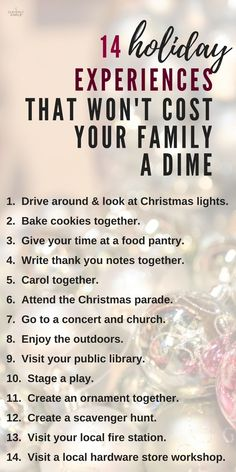 Do you like spending time together during the holidays? Here's 14 holiday experiences you can do together as a family and they are free! Totally keeping this list handy. traditions 14 Holiday Experiences That Won't Cost Your Family A Dime Little Christmas, Winter Christmas, Christmas Lights, Christmas Holidays, Christmas Decorations, Christmas Stocking, Traditions To Start, Family Traditions, Holiday Traditions