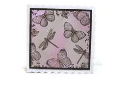 Blank Card Butterfly Vintage Brown and Pink by CShellCards on Etsy, £2.50