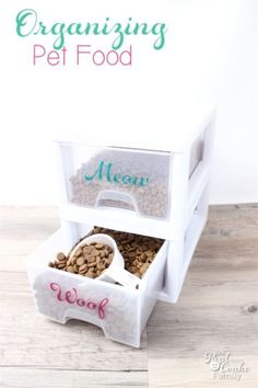 Drawers neatly keep Fluffy's food from Fido's, while making it easy to scoop out just the right amount for mealtime. Plus, it'll take a little extra work for curious kitties (and pups) to break into the stash. See more at The Real Thing With The Coake Family»