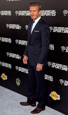 David Beckham -- navy suit with brown shoes (POPSUGAR | Entertainment)