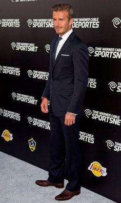 David Beckham -- navy suit with brown shoes (POPSUGAR | Entertainment)
