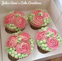 Pretty Buttercream Rose Cupcakes - Ideal for Mother's Day - By Jules-Anne's Cake Creations
