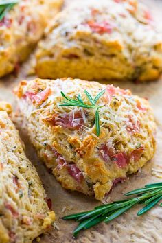 Rosemary, Parmesan, and Ham Scones are perfect for breakfast or brunch! Rosemary Parmesan and Ham Scone Recipe The older I get, the more I appreciate … Ham Recipes, Brunch Recipes, Breakfast Recipes, Cooking Recipes, Scone Recipes, Recipe For Savory Scones, Bisquick Scones Recipe, Casserole Recipes, Carrot Recipes
