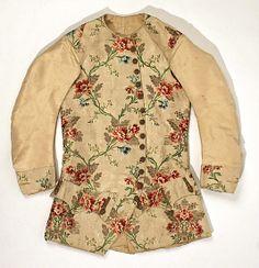 Long-sleeved waistcoat, France, 1715-1774. Cream silk brocade with floral motifs.