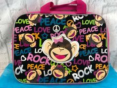 Satchel has one exterior zippered pocket and zippered closure. Girl Monkey Wearing A Hair Bow Briefcase/Satchel With The Words Peace, Love And Rock On It. Monkey Girl, Love Rocks, Tote Backpack, Office And School Supplies, Selling On Ebay, Briefcase, Luggage Bags, Peace And Love, Back To School