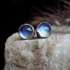 kamień księżycowy,srebro,sztyfty - Kolczyki - Biżuteria