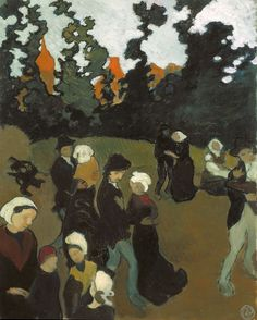 "Maurice Denis ""The Breton Dance"", 1891 (France, Post-Impressionism / Symbolism, cent. Maurice Denis, Pierre Bonnard, Edouard Vuillard, Gustav Klimt, Claude Monet Giverny, Art Beauté, Futurism Art, Dance Paintings, Oil Paintings"