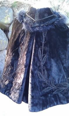 1895 Original Vintage Victorian Ostrich Embroidered and Beaded Heavy  Black Velvet  Cloak Cape- Ready To Go. $450.00, via Etsy.