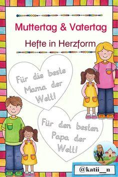 Muttertagsheft  Vatertagsheft in Herzform Beste Mama, Comics, Crafting, Ideas For Gifts, Teaching Materials, Deutsch, Cartoons, Comic, Comics And Cartoons