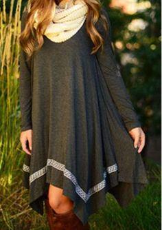 Irregular Loose Long Sleeve Dress