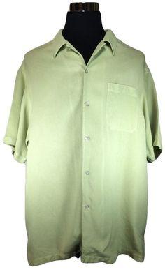 Brandini Silk Casual Shirt Mens XL Sage Green Short Sleeve Camp Bowling…