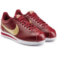 Nike Classic Cortez  Leather Sneakers (3.615 RUB) ❤ liked on Polyvore featuring shoes, sneakers, red, leather shoes, leather lace up sneakers, red sneakers, red trainers and lacing sneakers