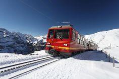 The train from Interlaken to Kleine Scheidegg in Switzerland. For more: http://www.newlyswissed.com/breathtaking-impressions-from-kleine-scheidegg/