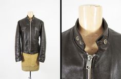 Vintage 70s Excelled Cafe Racer Leather Jacket by MemoryVintage