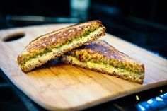 WOW!!!!!!!! A Vegan grilled cheese and PESTO sandwich!!! -Grilled Pesto & Chevre Sandwich